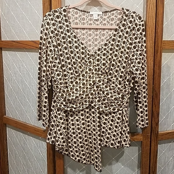 Dress Barn Tops - XL Dress Barn Cream and Brown Blouse